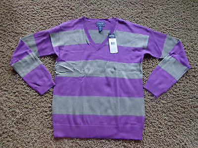 CHAPS women's NWT sz L gray & purple v-neck long sleeve striped knit sweater