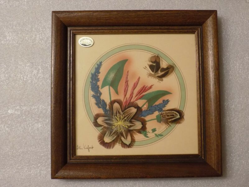 Hand Made Feather Flower Craft Prairie Picture Glass Framed Wall Art