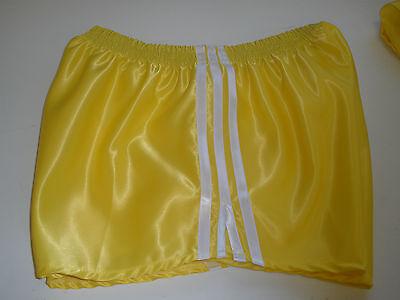 Nylon Satin Shorts - Retro Nylon Satin Football Shorts S to 4XL, Yellow - White