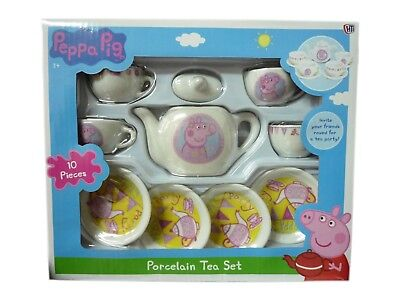 (Peppa Pig Toy Porcelain Tea Set 10 Pieces Tea Pot Cups & Saucers Toy BRAND NEW)