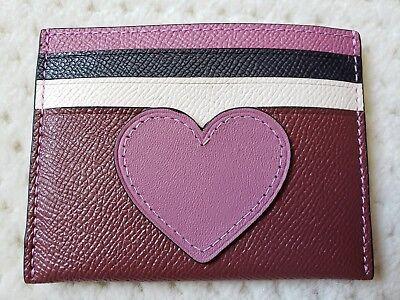 Coach Crossgrain Leather Bordeaux Card Case With Heart Motif  Gift Box  21108B