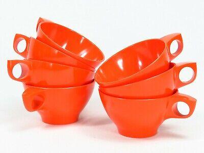 Boonton Ware Cups Tea Coffee 7 Vintage Orange Melamine Melmac 6203 8 Boontonware