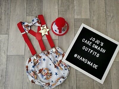 Cowboy Themed First Birthday (Baby Boys 1st Birthday Cake Smash Outfit. Blue, red,. Woody. *toy story theme*)