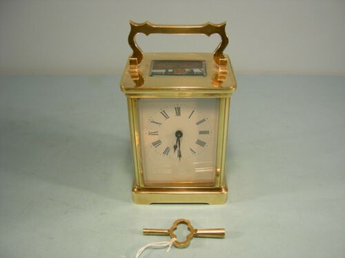 Antique French Miniature Carriage Clock 8-Day Time Piece Serviced Tested&Running