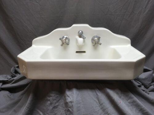 Antique Ceramic White Porcelain Stepped Pyramid Deco Bath Wall Sink Vtg 367-20E