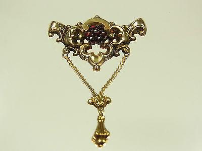 Schöne Biedermeier Granat Brosche 585 Gold  floral mit Abhängung um 1840