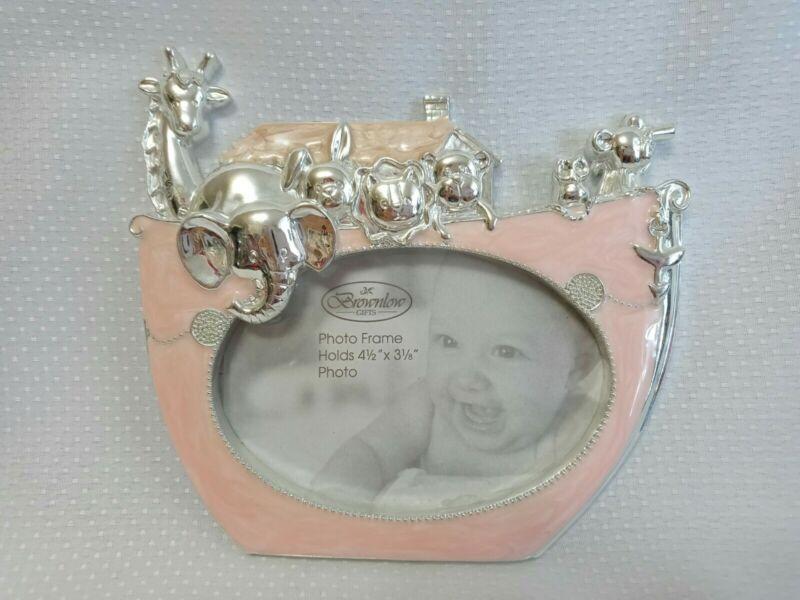 Beautiful Brownlow Baby Photo Frame*Pink Enameled Silver Noah