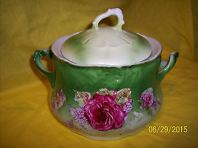 Vintage La France Germany Floral Roses Bowl with Lid, POSSIBILY A SUCRIER W/LID