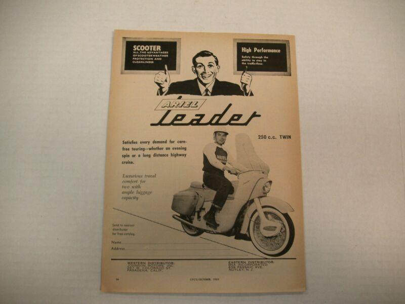 ARIEL LEADER SCOOTER MAGAZINE AD 1959  ORIGINAL