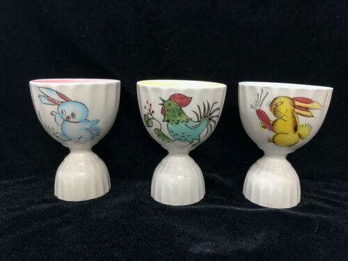 3 Vintage Rabbit Chicken & Rooster Double Egg Cups Pastel Inside Mid Century