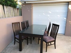 Dining table with six chairs, coffee and side table - solid wood