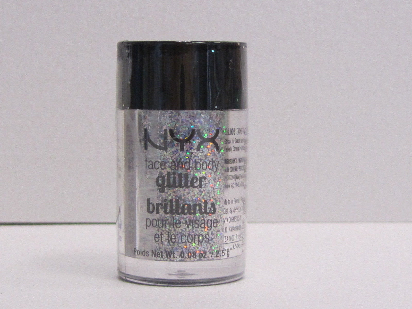 NYX Face and Body Glitter color GLI06 Crystal 0.08 oz Brand New With Sealed