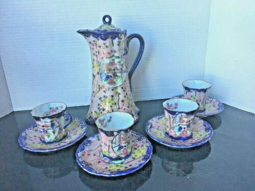 Nippon Chocolate Pot Tea Set Hand Painted 4 Cups & Saucers Cobalt Blue W/Geisha