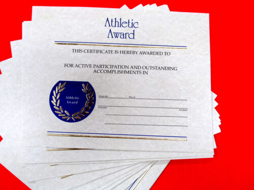 Athletic Award Certificate Lot of 17, 8.5x11 Card Stock Paper-School Team Sports