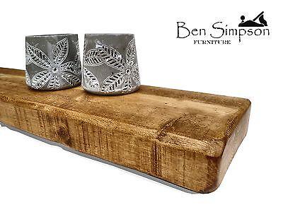 Chunky Wooden Rustic Solid Floating Shelf Shelves Mantel Handmade 15cm Depth F15