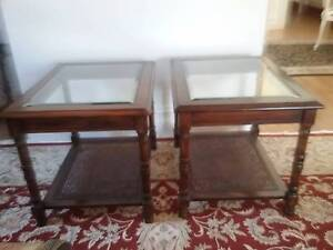 Two Timber, Rattan and bevelled glass side tables. Geelong West Geelong City Preview
