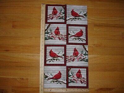 Winter Christmas Cardinals Berries Plaid Cotton Quilt Fabric Panel Blocks OOP  ()
