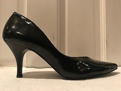 Steve Madden Echo Black Faux Patent Leather High Heel Pumps Womens Shoes Size 10