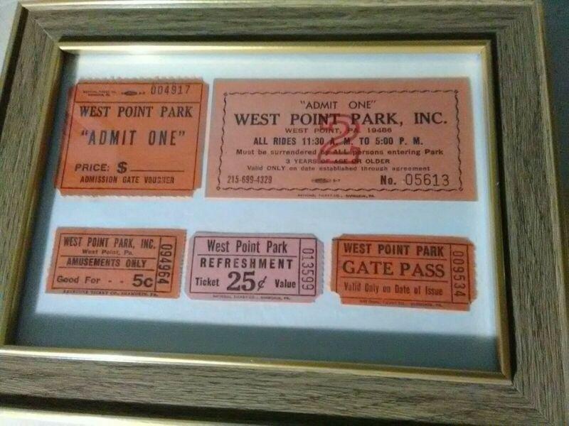 5 Super Rare Vintage Original West Point Park Inc. PA Tickets Rides Gate Admit