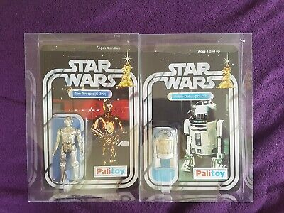 Vintage Palitoy A NEW Hope Star Wars R2-D2 & c3po Figures in display cases
