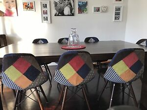 8 x Replica Eames Fabric Patchwork Upholstered DSW Chair Moonee Ponds Moonee Valley Preview