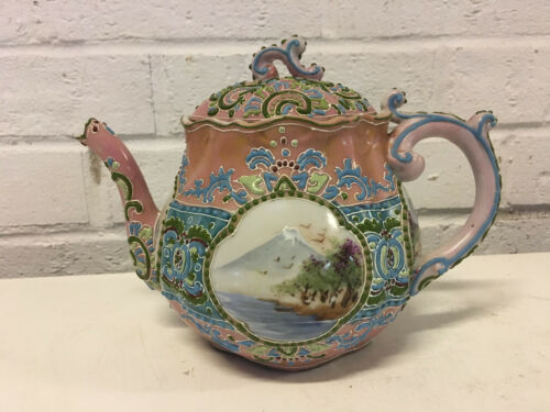 Antique Japanese Moriage Porcelain Teapot Painted Mt. Fuji Decoration