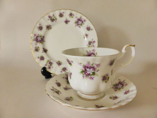 "Royal Albert ""Sweet Violets"" Bone China Trio, Tea Cup, Saucer & Plate Set"