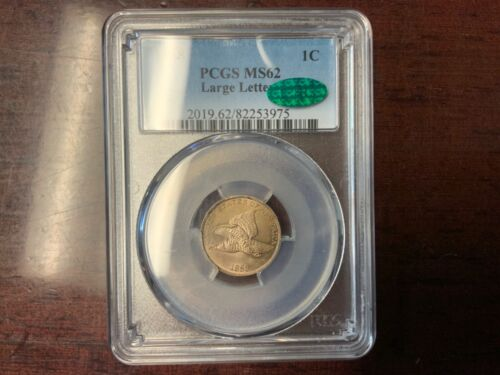 1858 Flying Eagle 1c PCGS/CAC MS62 (Large Letters) Flying Eagle Cent