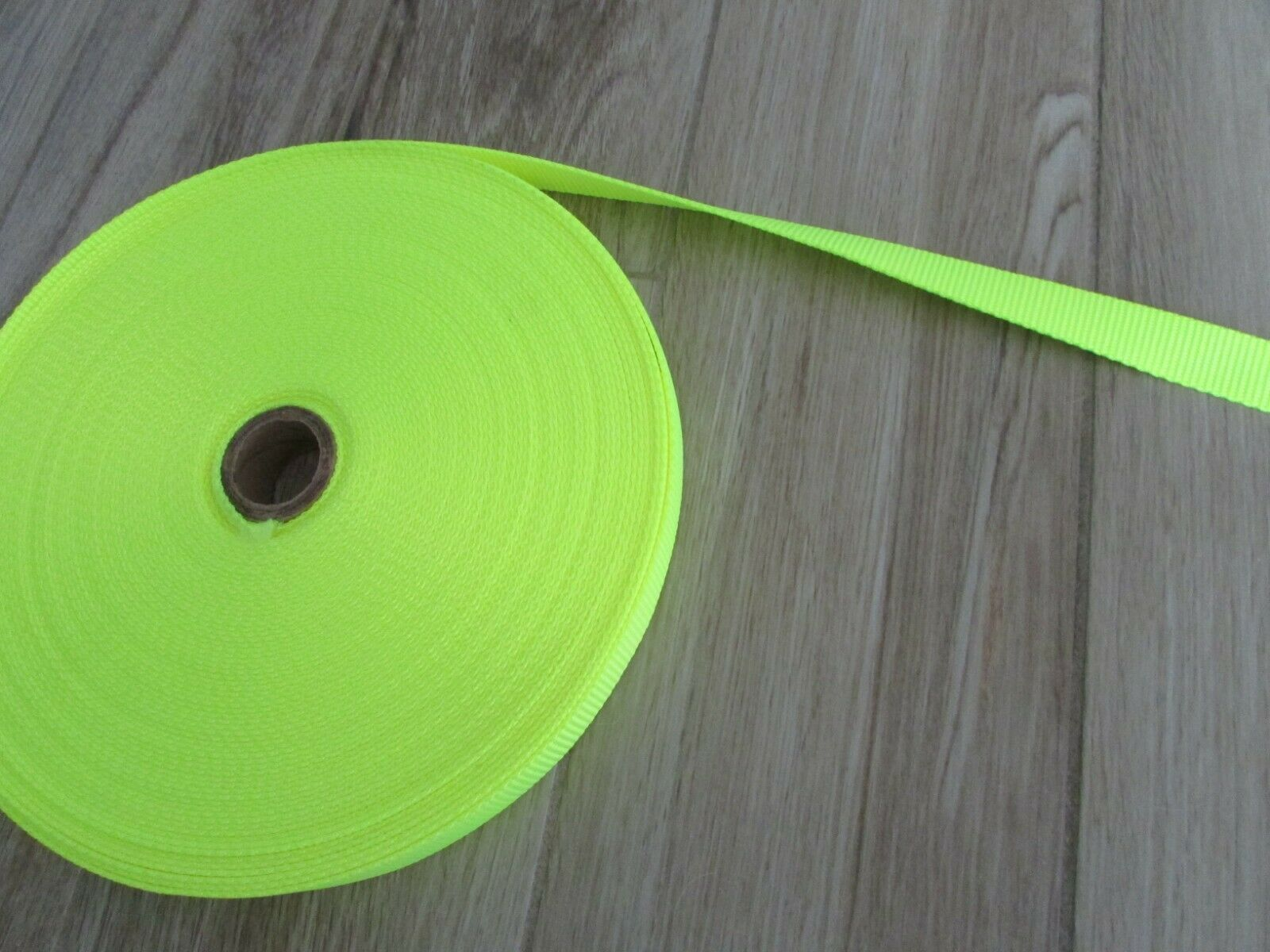 """Heavy Duty Nylon Strapping 1"""" Wide, Neon Yellow, 5 yds."""