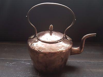 Antique Copper And Brass Kettle Kitchen Tea Pot Victorian