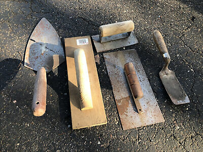 Vintage Lot Of 5 Masonry Cement Brick Trowel Wood Handle