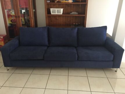 Quality navy suede 3 seater lounge RRP$2899