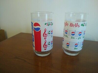 Vintage Pepsi Jingle Bells Christmas Drinking Glasses 2-Glass Set
