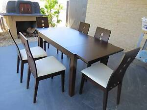 Dark brown extendable dining table with 6 chairs Harrison Gungahlin Area Preview