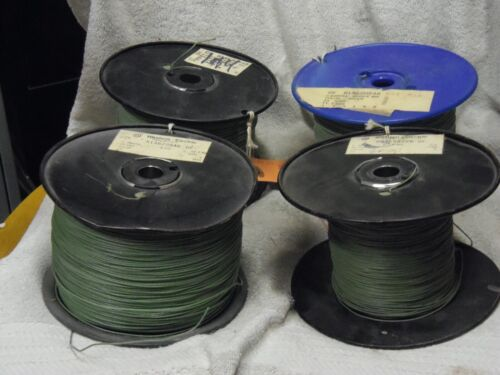 1000 ft coil Western Electric 24g solid core,CLOTH, TINNED,  green