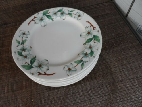 "5 Mayer China Restaurant Ware 9 3/4"" Luncheon Plates  Monticello  Dogwood Design"