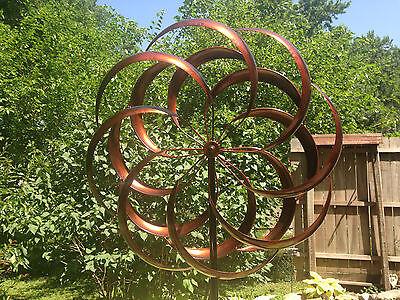 large 2 ft Kinetic wind Sculpture Modern Art Dual spinner metal outdoor -