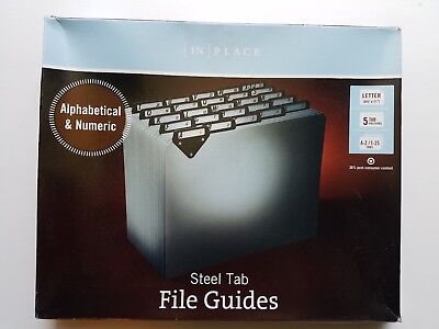 Steel Tab File Guides In Place Alphabetical And Numeric - Letter - New Gray