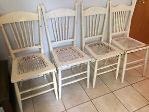 Antique white wooden chairs