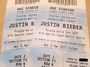 2x Justin Bieber - Section F1 Row N - ANZ Stadium Mascot Rockdale Area Preview