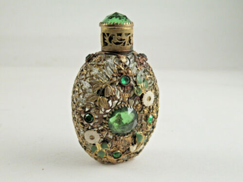 ANTIQUE CZECHOSLOVAKIA PERFUME BOTTLE with RHINESTONES, BRASS FILIGREE & ENAMEL