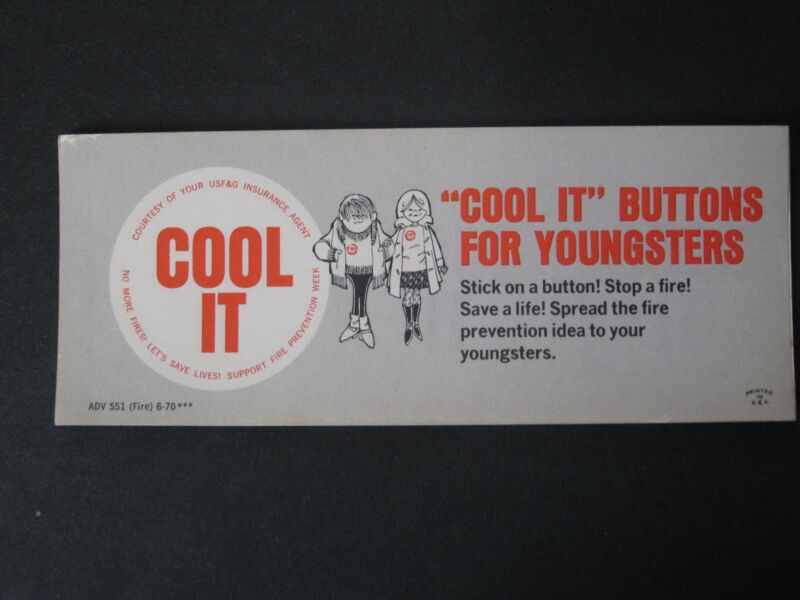 - USF&G Insurance Book of 3 Fire Prevention Week Stickers from 1970
