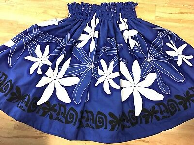 "NEW BLUE WHITE TIARE HAWAIIAN PAU PA'U HULA SKIRT 29"" LONG MADE IN HAWAII for sale  Honolulu"