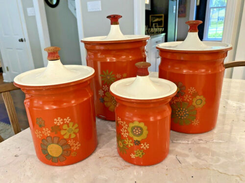 Vintage Retro Set Red Orange Flowers Aluminum Canisters Kitchen Wood Knobs Metal