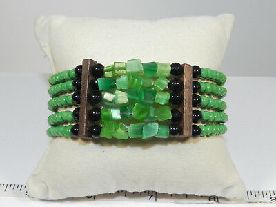 Five Strand Green and Black Beaded Flex Bracelet