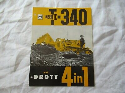 1962 International Drott Bulldozer Scraper Clamshell T-340 Brochure