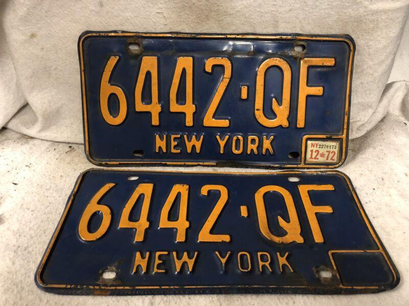 Vintage 1972 New York License Plate Pair
