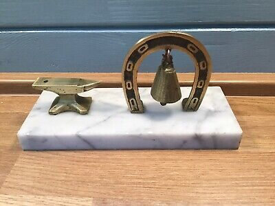 Art Deco Brass On Marble Miniture Anvil And Horseshoe With Bell