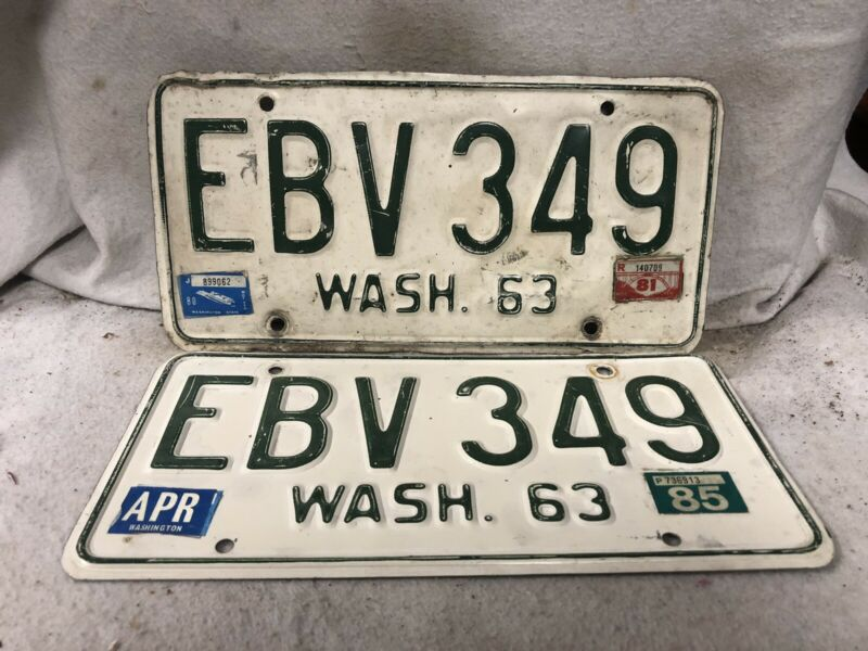 Vintage 1963 Washington License Plate Pair