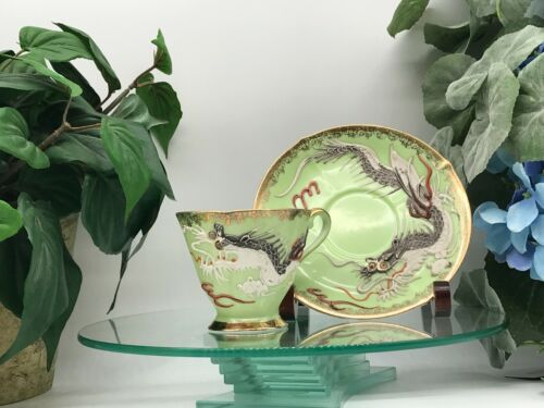 Vintage Castle Moriage Dragonware Footed Tea/Coffee Cup & Saucer Green Gold Trim